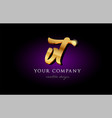 vt v t 3d gold golden alphabet letter metal logo vector image vector image
