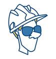 worker face with helmet cartoon vector image vector image