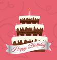 happy birthday sweet cake candle vector image
