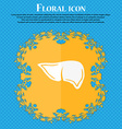 Liver icon Floral flat design on a blue abstract vector image