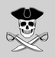 skull in tricorn with crossed broadswords vector image