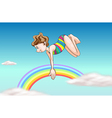 A girl diving up the sky vector image vector image