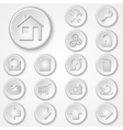 abstract white round paper icon set vector image vector image