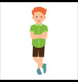 angry redhead boy in green shirt vector image vector image