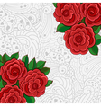 Background with red roses and leaves vector image vector image