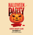 banner for halloween party with a pumpkin head vector image vector image