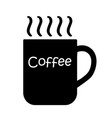 big hot black coffee cup icon with text coffee vector image