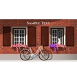 Brick house and bicycle vector image