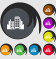 Buildings icon sign Symbols on eight colored vector image vector image