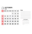 Calendar Ovtober 2015 vector image vector image