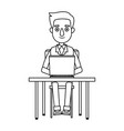 cartoon young man working laptop sitting image vector image vector image