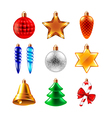 Christmas balls different forms set vector image vector image