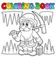 coloring book cartoon dwarf miner vector image