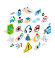 concern icons set isometric style vector image vector image