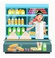 Dairy product seller at the counter and stall vector image