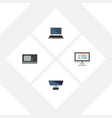 flat icon computer set of display pc vintage vector image vector image