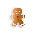 flat style gingerman christmas decoration element vector image