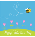 Flying bee Flowers Dash heart in the sky card vector image vector image