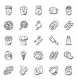 food and kitchenware doodle icons vector image vector image