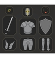 Game inventory Knight armor set Color vector image vector image