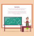geometry lesson web banner with place for text vector image