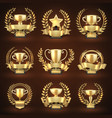 golden winner trophy cups prize sports awards vector image