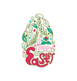 Greeting card with doodle easter egg color vector image