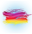 Grunge colorful brush stroke with stripes on light vector image vector image