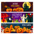 halloween pumpkin horror monster greeting banner vector image vector image