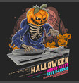 halloween pumpkin zombie dj music party vector image