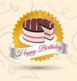 happy birthday cake candles stamp vector image