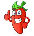 hot pepper cartoon character giving a thumbs up vector image vector image