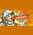 hungry woman astronaut eating hot dog sausage vector image vector image