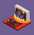 isometric halloween theatrical performance concept vector image