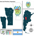 map of san luis province argentina vector image vector image
