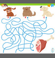 maze game with cartoon dogs and meat vector image vector image