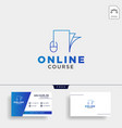mouse book line online learning line logo vector image vector image
