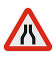 narrowing of the road icon flat style vector image vector image