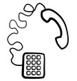 phone receiver symbol line drawing vector image vector image