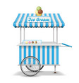 realistic street food cart with wheels mobile vector image vector image