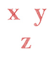 Red sketch font set - lowercase letters x y z vector image vector image