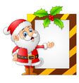 santa presenting blank sign vector image vector image