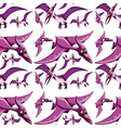 seamless pattern with fantasy dinosaurs cartoon vector image