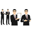 set of asian businessman with tablet computer vector image