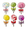 Set of colorful lollipops in hand drawn style vector image vector image