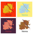 set of flat map of the city of vienna austria vector image vector image