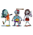 set of zombie character vector image