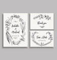 Set wedding cards with leaves herbs and flowers