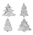 set with four isolated patterned christmas trees vector image
