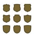 shield flat icons emblem set vector image vector image